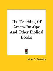 Cover of: The Teaching of Amen-em-ope and Other Biblical Books by W. O. E. Oesterley
