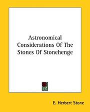 Cover of: Astronomical Considerations of the Stones of Stonehenge | E. Herbert Stone