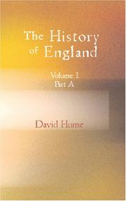 Cover of: The History of England Vol.I. Part A by David Hume