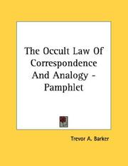 Cover of: The Occult Law Of Correspondence And Analogy - Pamphlet | Trevor A. Barker