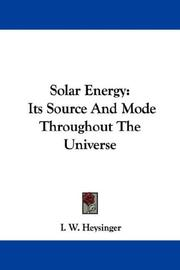 Cover of: Solar Energy | I. W. Heysinger