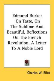 Cover of: Edmund Burke | Charles W. Eliot