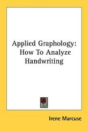 Cover of: Applied Graphology by Irene Marcuse
