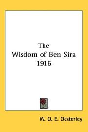Cover of: The Wisdom of Ben Sira 1916 | W. O. E. Oesterley