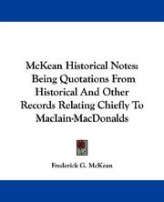 Cover of: McKean Historical Notes | Frederick G. McKean
