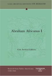 Cover of: Abraham Africanus I | Gale Archival Editions