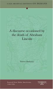 Cover of: A discourse occasioned by the death of Abraham Lincoln | Warren Hathaway