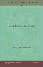 Cover of: Lessons from our late rebellion by Andrew P. (Andrew Preston) Peabody