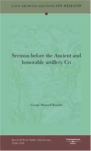 Cover of: Sermon before the Ancient and honorable artillery Co | George Maxwell Randall