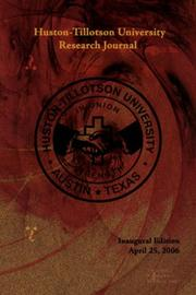 Cover of: Huston-Tillotson University Research Journal | Huston-Tillotson University