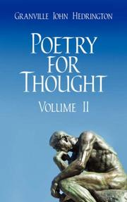 Cover of: Poetry for Thought by Granville John Hedrington