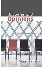 Cover of: Inquiries and Opinions | Brander, Matthews