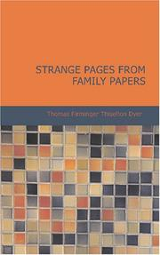 Cover of: Strange Pages from Family Papers | Thomas Firminger Thiselton Dyer