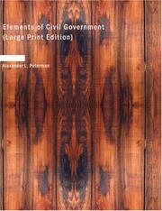 Cover of: Elements of civil government | Alexander L. Peterman