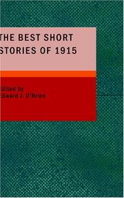 Cover of: The Best Short Stories of 1915 by Edward J. OBrien