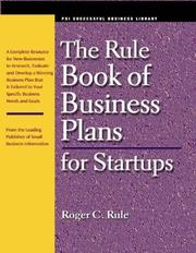 Cover of: The Rule Book of Business Plans for Startups (Psi Successful Business Library) by Roger C. Rule