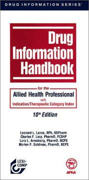 Cover of: Drug Information Handbook for the Allied Health Professional | Lance
