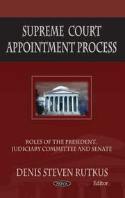 Cover of: Supreme Court Appointment Process by Denis Steven Rutkus
