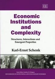 Cover of: Economic Institutions and Complexity | Karl-Ernst Schenk