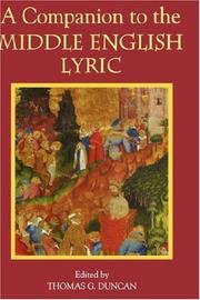 Cover of: A Companion to the Middle English Lyric | Thomas G. Duncan