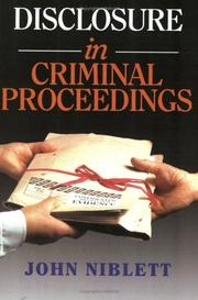 Cover of: Disclosure in Criminal Proceedings | John Niblett