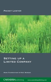 Cover of: Setting Up a Limited Company 2/e (Pocket Lawyer) | Fairweather & B
