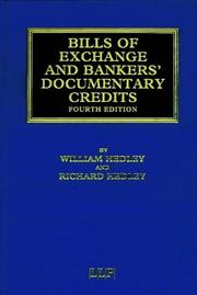 Cover of: Bills of Exchange and Bankers' Documentary Credits (Banking & Finance Law Library) | Hedley