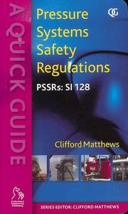 Cover of: Pressure Systems Safety Regulations | Clifford Matthews
