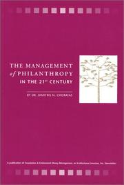 Cover of: The Management of Philanthropy in the 21st Century by Dimitris Chorafas