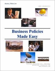 Cover of: BUSINESS POLICIES MADE EASY (with CD) | Edmond D. Jones