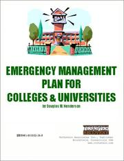 Cover of: Emergency Management Plan for Colleges & Universities on CD-ROM by Douglas M. Henderson
