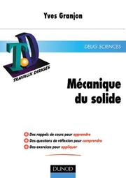 Cover of: TD de mécanique du solide by Yves Granjon