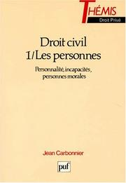 Cover of: Droit Civile: Les Personnes by Carbonnier