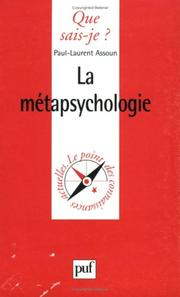 Cover of: La Métapsychologie | Paul-Laurent Assoun