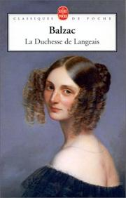 Cover of: La Duchesse de Langeais by Honoré de Balzac