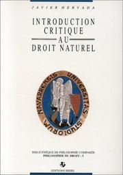 Cover of: Introduction critique au droit naturel | Javier Hervada