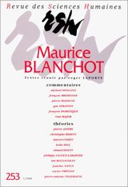 Cover of: Revue des Sciences Humaines - Maurice Blanchot | Roger Laporte