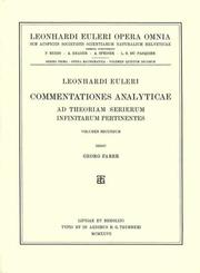 Cover of: Commentationes analyticae ad theoriam serierum infinitarum pertinentes 3rd part, 1st section | Leonhard Euler