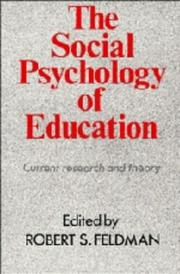 Cover of: The Social Psychology of Education | Robert S. Feldman