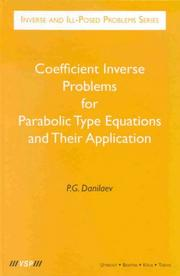 Cover of: Coefficient inverse problems for parabolic type equations and their application | P. G. Danilaev
