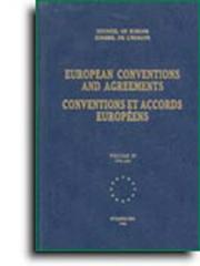 Cover of: European conventions and agreements (bilingual edition) - Volume I; 1949-1961 (1992) | Council Of Europe