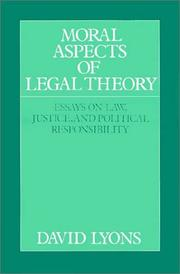 Cover of: Moral aspects of legal theory | David Lyons
