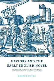 Cover of: History and the Early English Novel | Robert Mayer
