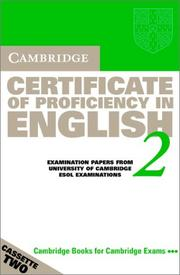 Cover of: Cambridge Certificate of Proficiency in English 2 Audio Cassette Set | University of Cambridge Local Examinations Syndicate
