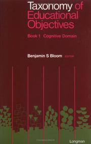 Cover of: Taxonomy of Educational Objectives, Handbook 1 | Benjamin S. Bloom