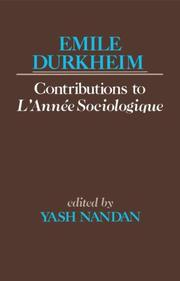 Cover of: Emile Durkheims Contribution To L'Anne Sociologique | Émile Durkheim