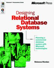 Cover of: Designing Relational Database Systems (Dv-Mps Designing) by Rebecca Riordan