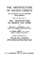 Cover of: The architecture of Ancient Greece | Anderson, William J.