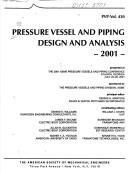 Cover of: Pressure vessel and piping design and analysis, 2001 | Pressure Vessels and Piping Conference (2001 Atlanta, Ga.)