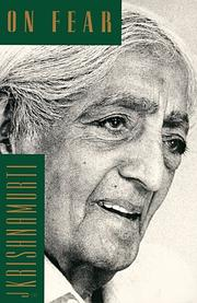 Cover of: On Fear by Jiddu Krishnamurti